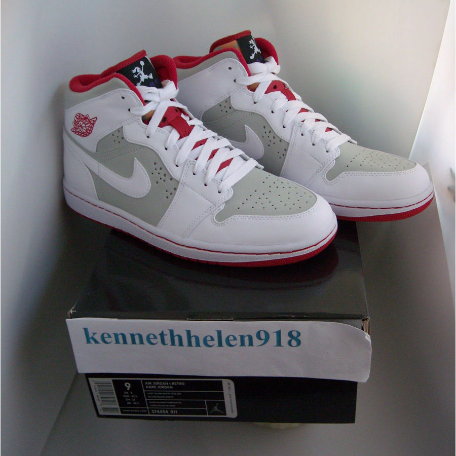 NEW 2018 NIKE AIR JORDAN 1 RETRO HARE JORDAN BUGS BUNNY WHITE RED MENS SIZE 9