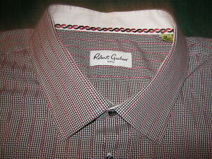 Robert-Graham-Black-CHECK-amp-White-STRIPE-Dress-Shirt-Men-039-s-50-20-36-37-Tall