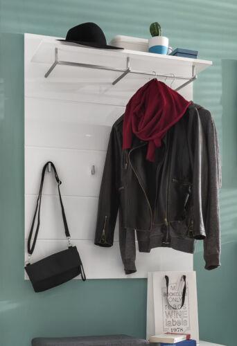 Flur Garderobe Paneel in weiß Hochglanz mit Kleiderstange Hutablage Haken Amanda