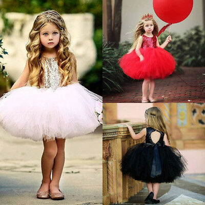 Toddler Baby Girls Communions Sequins Party Weddings Bridesmaid Tutu Tulle Dress