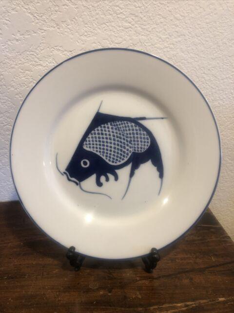 """Vtg Koi Dinner Plate China Blue Fish Handpainted  10 1/4"""""""