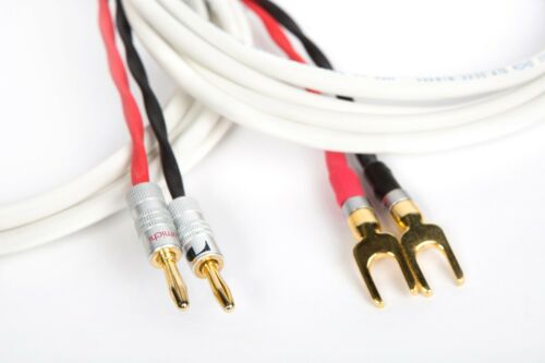 10 Ft. Belden Pure Copper Wire Speaker Cable 2 Spade //2 Banana Plugs Pair