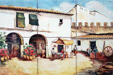AZULEJOS PINTADOS A MANO de CERÁMICA 30x45cm * Costumbres Españolas Pueblo