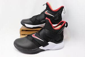new style a53b6 f9e82 Image is loading Nike-Lebron-Soldier-XII-12-Basketball-BRED-Black-