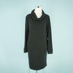 Caslon Size Medium M Dress Carefree Cowl Neck Long Sleeve Side Button Black NWOT