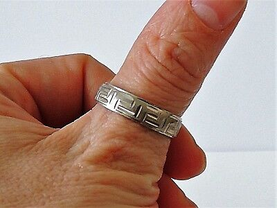 925 Sterling Silver Rodium Plated Greek Style Band Ring Size M, S, W, X1/2, Y Knitterfestigkeit