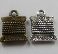 Free Ship 100pcs tibet silver and bronze plated silk cord charms 15mm