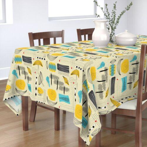 Tablecloth Modern Midcentury Mod Art Retro Yellow Blue Abstract Cotton Sateen