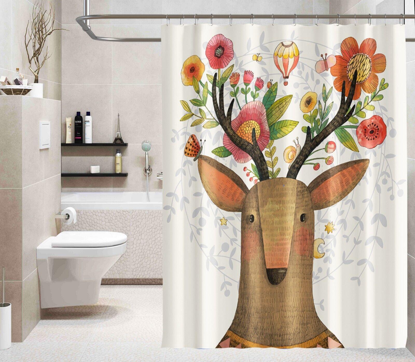 3D Blaumen Hirsch 89 Duschvorhang Wasserdicht Wasserdicht Wasserdicht Faser Bad Daheim Windows Toilette e3ab1d