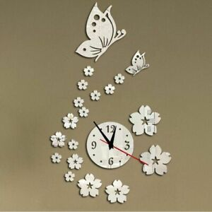 Home-Wall-Clock-Art-Decoration-3D-Mirror-Acrylic-Floral-Butterfly-Designed-Watch