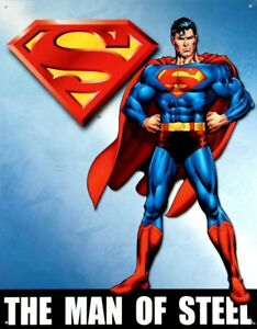 Superman Man of Steel Vintage Retro Tin Metal Sign 13 x 16in