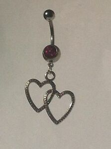 HEARTS-Belly-Bar-dangle-Choice-of-colour-UK-made-FREE-POST