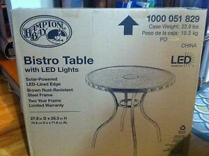 New Led Solar Lights Patio Bistro Table By Hampton Bay Ebay