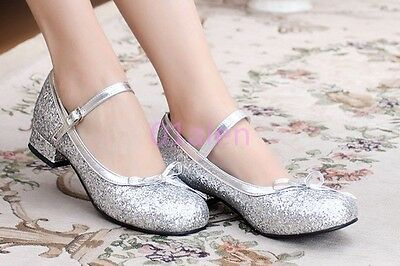 Womens Bowtie Lolita Low Block Heel Cosplay mary janes Bling Glitter Sequins New