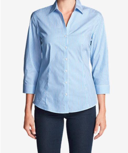 NEW  Eddie Bauer bluee Strip 3 4 Sleeve Wrinkle-Free Shaped Shirt Women's 2X-3X