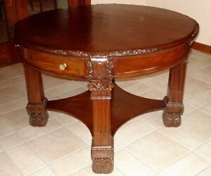 RJ-HORNER-CENTER-Table-VERY-GOOD-Antique-Victorian-Walnut-1880-CARVED-TABLE