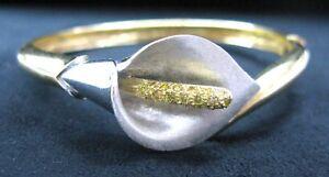 Fine-18KT-Fancy-Yellow-Calla-Lily-Diamond-Bangle-0-50Ct-2-Tone-Gold