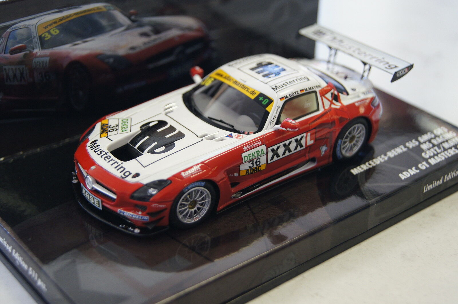 MERCEDES SLS AMG gt3 MS RACING  36 ADAC GT Masters 1 43 Minichamps NUOVO & OVP