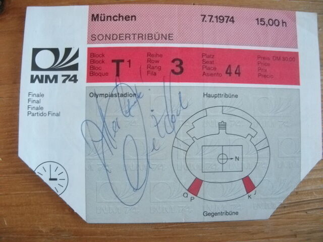 WM 1974Finale Deutschland   NiederlandeEintrittskarteSondertribüneAutogramm