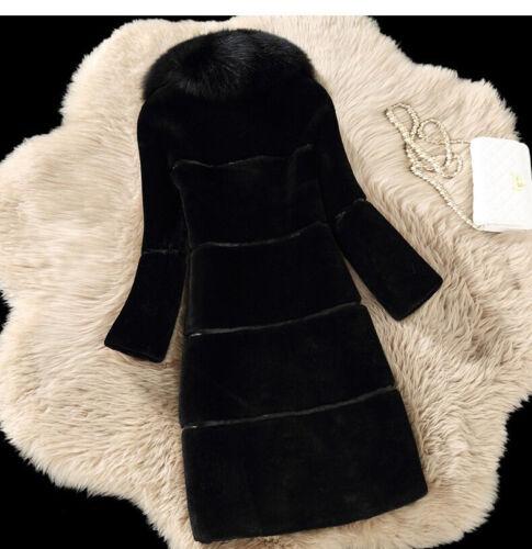 Womens Faux Fox Fur Collar Coat Winter Warm Slim Fit Long Sleeve Casual Outwear