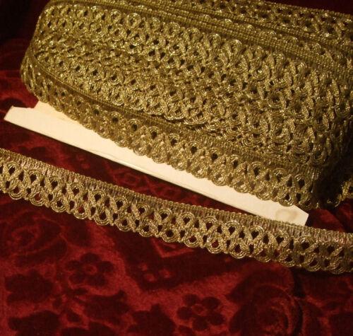 "Antique vintage gold metallic ribbon lace braid trim loops lamp shade 1-1//5/"" p.y"