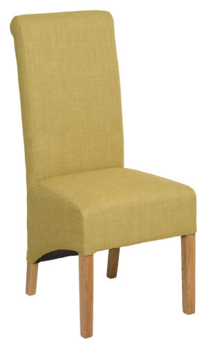 1 Pair Upholstered LIME GREEN Fabric Dining Chairs