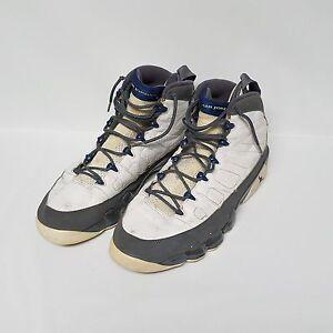 8fa571a63bc Nike Air Jordan 9 IX Retro White French Blue Flint Gray Shoes 302370 ...