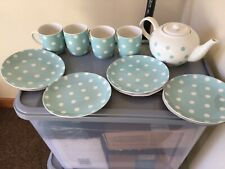 BNWT Cath Kidston  9 piece Button Spot tea set blue and white