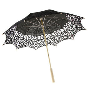 Cotton Lace Parasol Umbrella Wedding Bridal Shower Decor Photo Prop Black