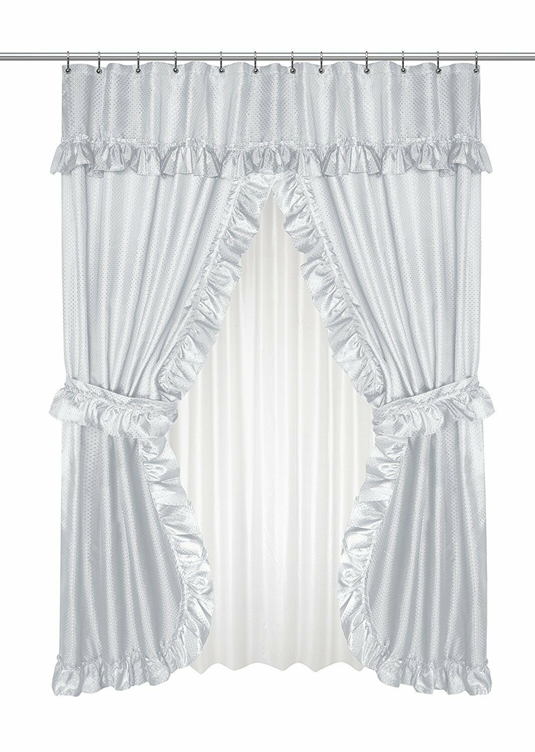"""Carnation Home Fashions /""""Lauren Double Swag Shower Curtain Assorted Colors"""