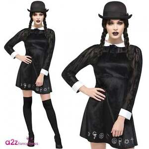 f50ae45f30f Details about Fever Gothic School Girl Black Scary Adult Womens Halloween  Fancy Dress Costume