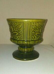Vintage Olive Green Avacado RETRO Daisy Planter glazed pottery USA Collectible