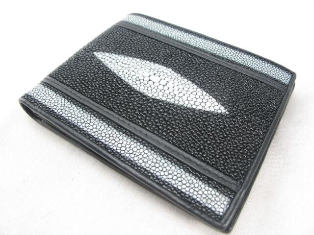 PELGIO Real Genuine Stingray Skin Leather Men/'s Bifold Credit Card Wallet Black