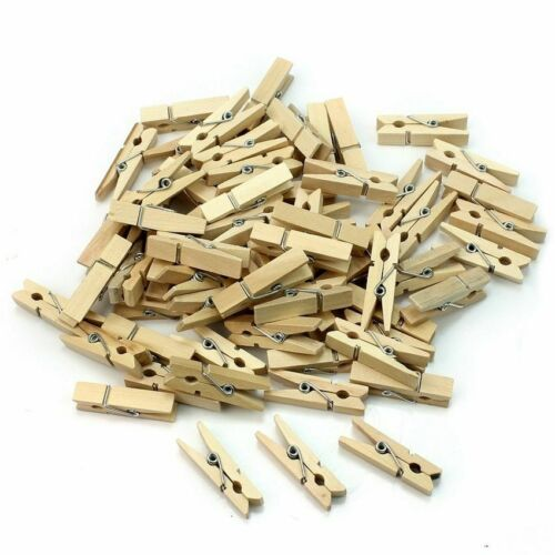 50Pcs//lot Mini Size 25mm Wooden Clips Binders For Decoration Paper Photo Crafts