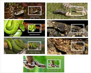 SNAKES-SNAKE-REPTILES-7-SOUVENIR-SHEETS-MNH-IMPERFORATED