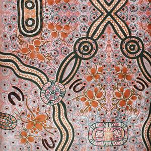 Australian Aboriginal Art Fabric *TAF Cotton Fabric BUSH FOOD RED