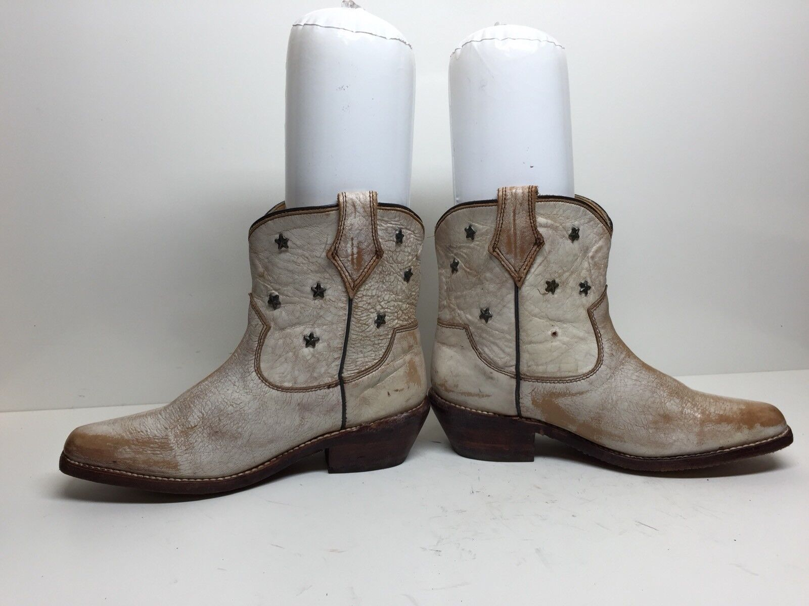 #I Damenschuhe BED STÜ COBBLER SERIE SNIP TOE COWBOY LEATHER PEARL IVORY BOOTS SIZE 6