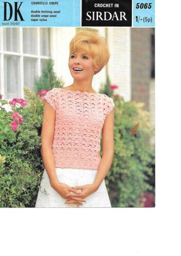 """34-40/"""" DK summer top Sirdar 5065 Vintage Ladies Crochet Pattern 1970"""