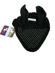 Equine Couture Fly Bonnet Black Silver Beaded Ear Covers Full Sized NEW