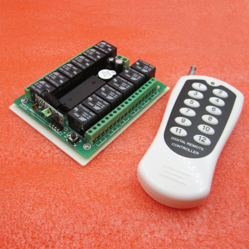Receiver 12v 10A relay 12Ch wireless Programable RF Remote Control Transmitter