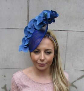 Royal Blue Orchid Flower Saucer Disc Hat Fascinator Races Wedding ... 97e20744d53