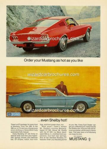 1967 FORD MUSTANG SHELBY GT 500 FASTBACK A3 POSTER AD ADVERT ADVERTISEMENT