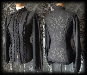 Gothic-Black-Damask-Pattern-VICTORIAN-GOVERNESS-High-Neck-Blouse-16-18-Steampunk