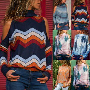 Women-Turtleneck-Cold-Shoulder-Blouse-Geometric-Floral-Print-Jumper-Tops-Shirt-A