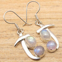 Shop With Confidence ! 925 Silver Plated RAINBOW MOONSTONE SWORD Earrings Retail