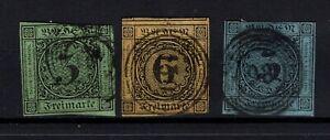 G128796 / GERMAN OLD STATES / BADEN / MI # 6 – 7 - 8 USED CV 110 $