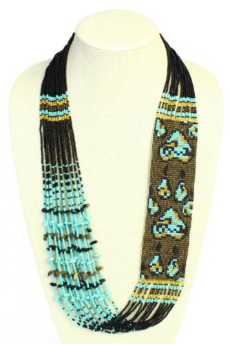 NE705-132 Turquoise Bronz Wolf Paw Tribal Original Glass Crystal Beaded Necklace