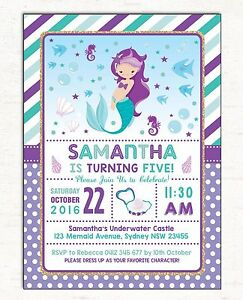 Image Is Loading Little Mermaid Invitation First Birthday Invite Pool Party