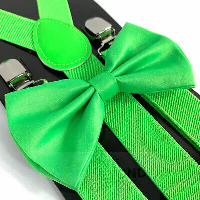Suspender and Bow Tie Adults Men Olive Hunter Plaid Wedding Formal Accessories