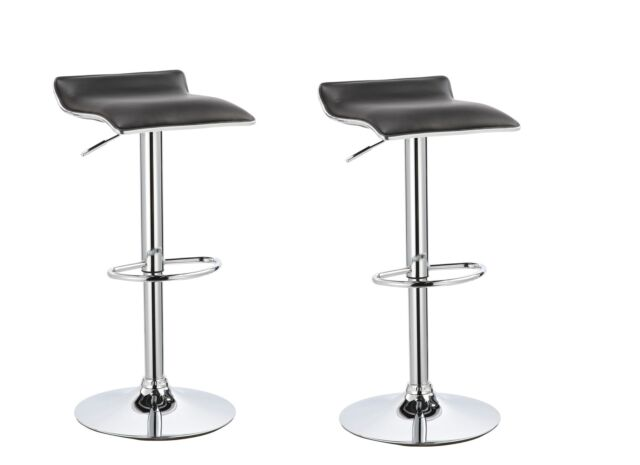 Tremendous Black White Leather Allegro Style Gas Lift Bar Stool Breakfast Kitchen 2 Pack Pabps2019 Chair Design Images Pabps2019Com